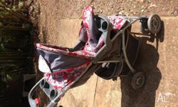 WE HAVE A BRAVO PRAM IN GOOD CONDITION. HAS WIND COVER