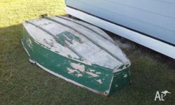 Plywood pram dinghy, has damaged side that could be