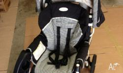 Good condition Graco folding pram. Back lays flat for