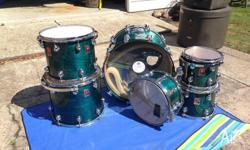premier genista 6 piece drum kit ,turquoise swirl.In