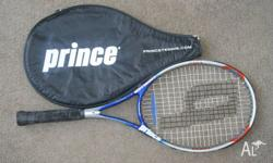 Prince graphite tennis racquet with cover. In good