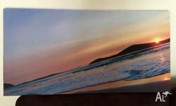 Printed canvas of sunset. Great as decor or substitute