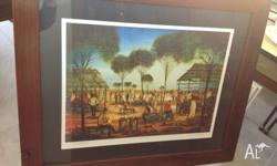 "Pro Hart framed print ""Country Races"". Excellent"