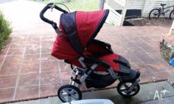 Pro Jane Jogging Pram Red 3 wheeler Pump up wheels