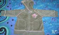 PUMPKIN PATCH VELOR GREY AND PINK HOODED JACKET.