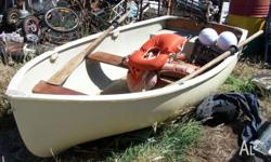 10ft Purdon Dingy, Fibreglass, 3.5hp Seagull Outboard