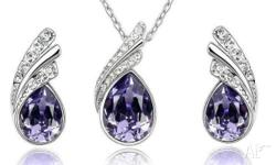 PURPLE Austrian Crystal Rhinestone Silver Necklace