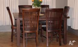 Solid Timber 8 seater square dining table (with 6 high