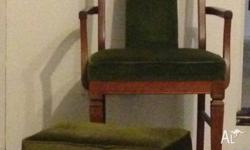 Teak wood arm chair with foot stool Perfect immaculate