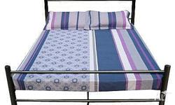 Queen size bed with woodern slats. Plain black metal