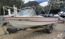 This older Quintrex 4.88 mtr runabout, maybe an oldie