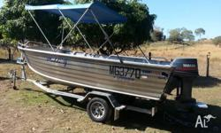 2002 Quintrex 5.2mt King Hull Open Tiller Steer Dory.