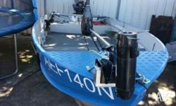 4.35m alloy boat. 25hp evinrude outboard. 54lb electric
