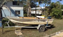 4mtr Quintrex tinnie with 25 mercury outboard on