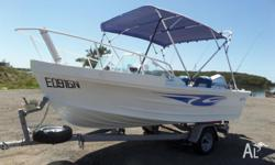 For sale is our Quintrex Laze-About fishing boat.