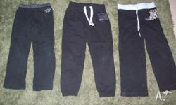 Girls Black trackpants 1 x Size 5 and 2 x Size 7 ideal