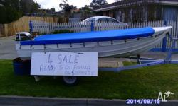 this 12 feet tinny is ready to go boat and trailer are