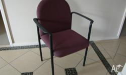 7chairs,Maroon with blue fleck fabric upholstery and