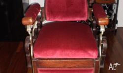 Antique Barbers chair, Made in America 1800's,Shipped