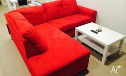 Red fabric couch Very comfy Great statement No obvious