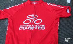 This is a red cycling jersey Scody size L. From the