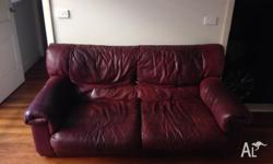 Red Leather 2 seater couch Sofa Looking to sell asap