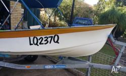 3.66 mtr Fiberglass Sheltered Water Dinghy with 15