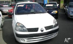 RENAULT,CLIO,2003, FWD, WHITE, GREY trim, 5D HATCHBACK,