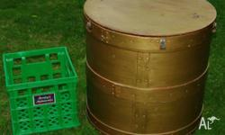 Vintage Unusual Wooden Trunk/Barrel This gold painted