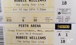 2 x tickets to ROBBIE WILLIAMS swing tour Friday 12th
