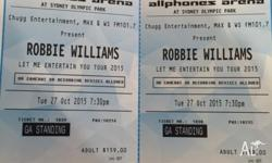 2 x Robbie Williams Tickets available for sale. $150