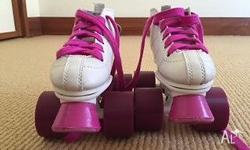 Girls White and Pink Rocket Roller Skates. Size
