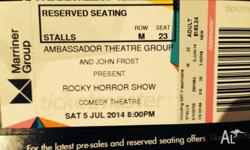 2 x Rocky Horror Show tickets for sale. Saturday 5th