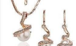 Rose Gold Pearl Austrian Crystal Wedding Bridal Jewelry