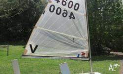 Fibreglass Sabot sailing dinghy. Certified to sail in