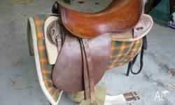 Military type saddle. Currently used giving children