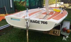 For sale is a 10 foot sailboat, White in main colour