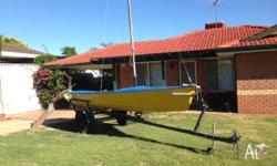 Sailing skiff. 5 meter on an unlicenced trailer.