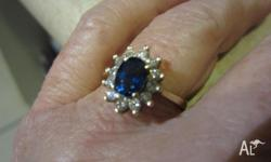 For Sale, 14ct Gold, Sapphire and Diamond Ring,