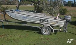 SAVAGE Jabiru L/W 3.8 Tinny on trailer with MARINER