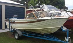 4.5m Savage runabout tinnie and trailer for sale. bare