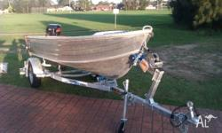 Savage tinnie, approx 8ft long, evinrude 5 hp 4 stroke