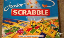 Scrabble Junior features a double sided playing board