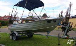 Sea Hunter 3.7 mtr car topper and Trailer 25 hp Johnson