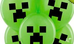 New Creeper Face on green balloon Set of 10 So you will