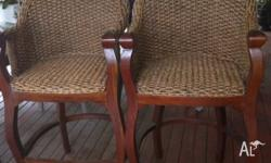 2 x water hyacinth & timber stools - 75cm to seat 125cm