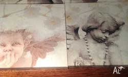 Set of 4 cherubs on canvas. Each one measures 28cm x