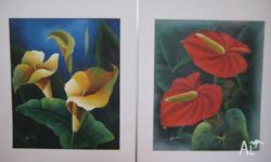 Set of two floral canvas paintings Never been framed or