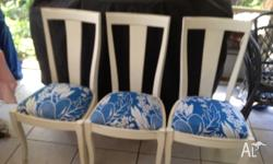 REVAMPED CHAIRS WITH BRAND NEW BRIGHT BLUE TRENDY