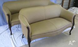 A pair of matching Victorian settees. Two seater and